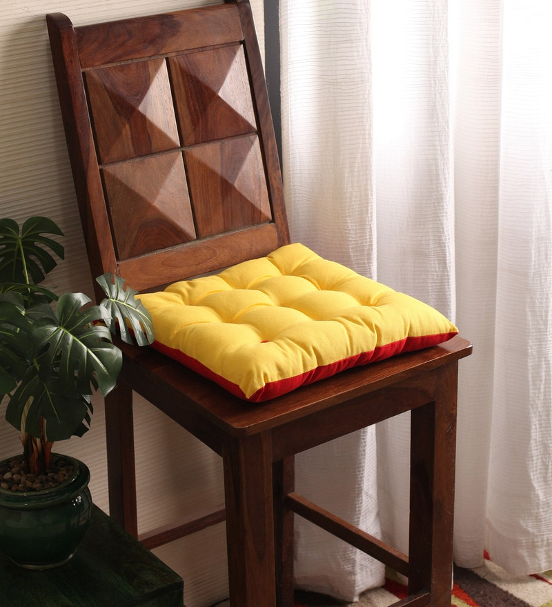 Lemon Chrome & Tomato Cotton & Polyester 16 x 16 Inch Half Panama Chair Pad by Lushomes