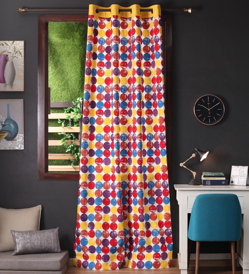 Multicolour Cotton 108 x 54 Inch Titac Printed Long Door Curtain with 8 Eyelets & Plain Tiebacks -1 Piece by Lushomes