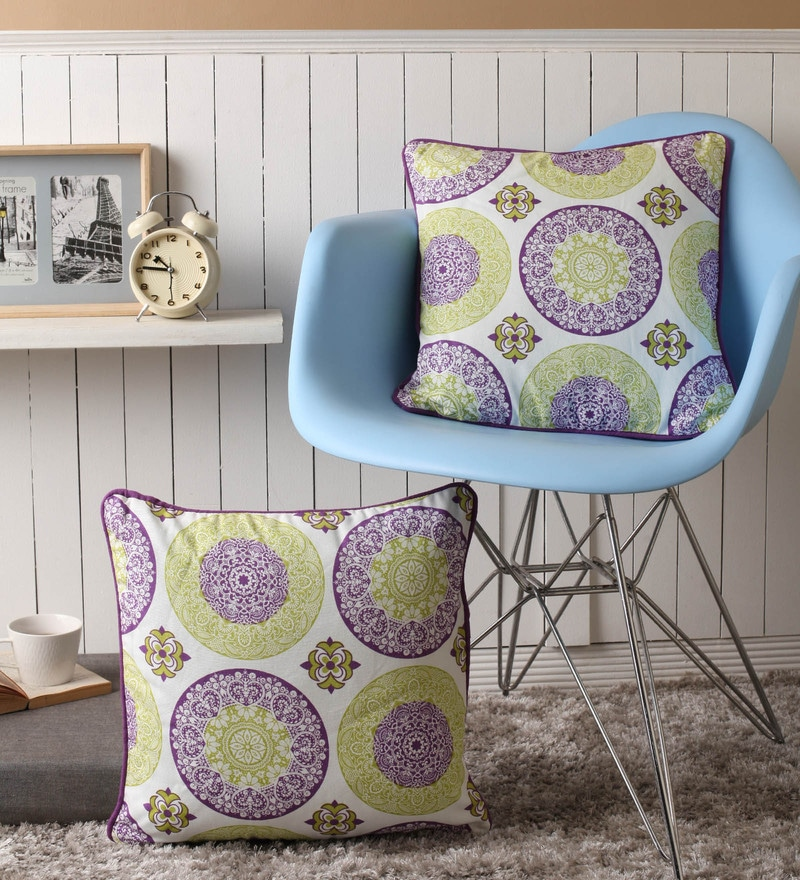 Lushomes Multicolour Cotton 16 x 16 Inch Bold Printed Cushion Covers with Co-Ordinating Cord Piping - Set of 2