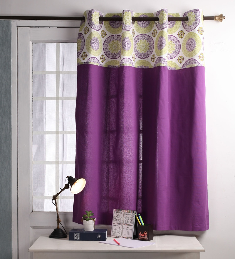 Lushomes Multicolour Cotton 60 x 54 Inch Bold Printed Bloomberry Windows Curtain with 8 Eyelets & Printed Tiebacks  -1 Piece