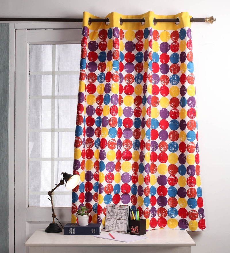 Multicolour Cotton 60 x 54 Inch Titac Printed Windows Curtain with 8 Eyelets & Plain Tiebacks -1 Piece by Lushomes