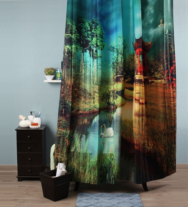 Multicolour Polyester 82 x 72 Nature Shower Curtain by Lushomes