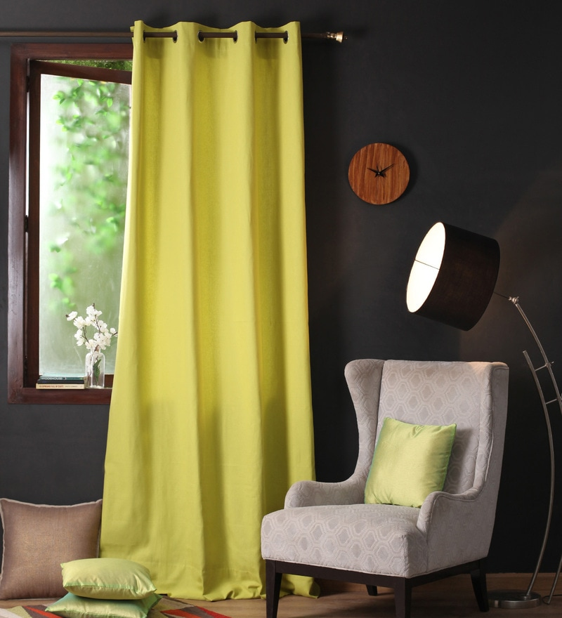 Palm Cotton 108 x 54 Inch Plain Long Door Curtain with 8 Eyelets & Plain Tiebacks - Set of 2 by Lushomes