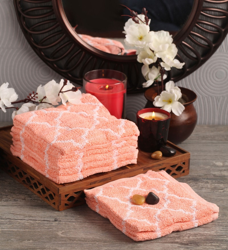 Pink Cotton 12 x 12 Face Towel - Set of 8 by Lushomes