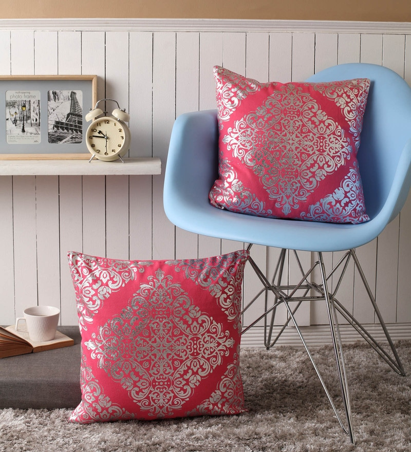 Lushomes Pink Cotton 16 x 16 Inch Cushion Covers with Silver Foil Print - Set of 2