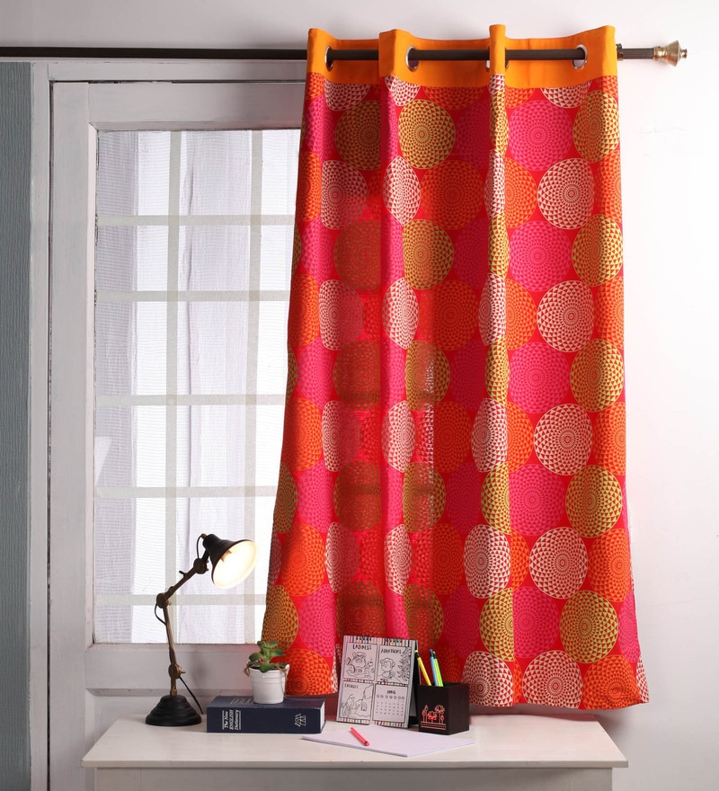 Red Cotton 60 x 54 Inch Spiral Printed Windows Curtain with 8 Eyelets & Plain Tiebacks -1 Piece by Lushomes