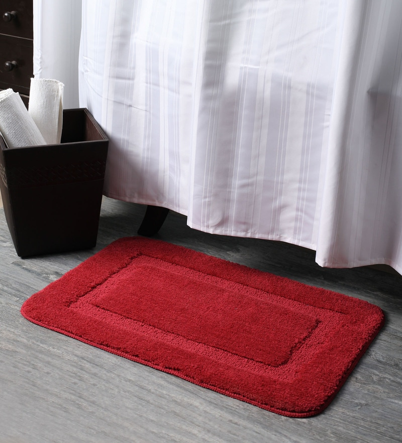 Red Polyester 16 x 24 Bath Mat by Lushomes