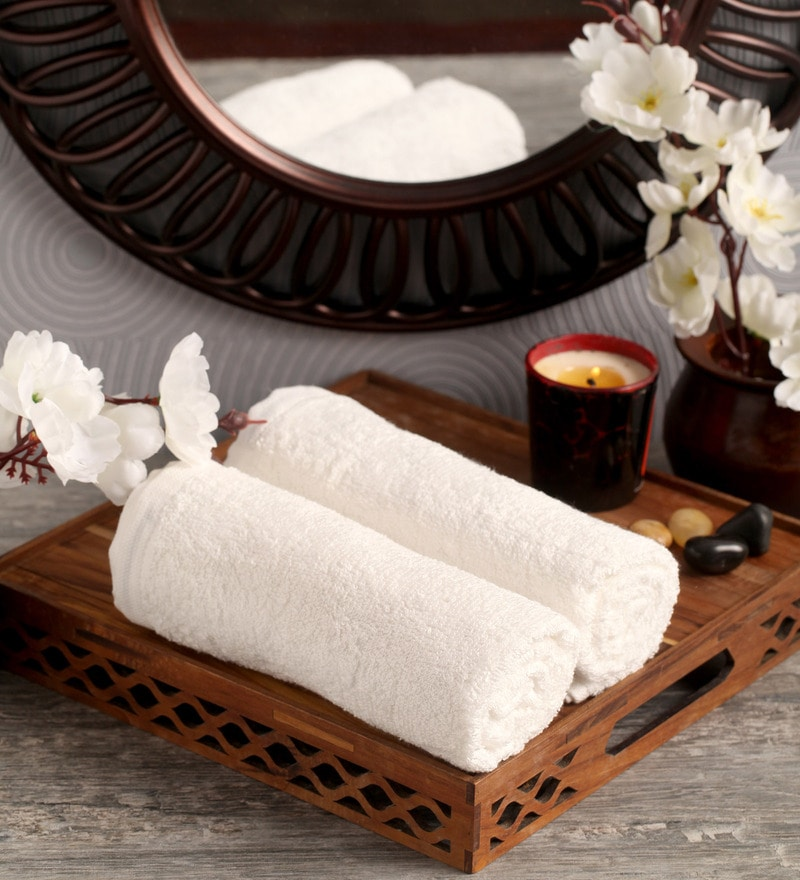 White Cotton 16 x 26 Hand Towel - Set of 2 by Lushomes