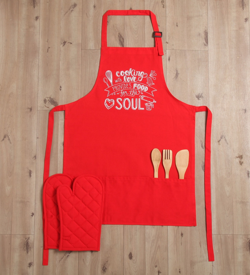 Lushomes Witty Food For The Soul Red Cotton Apron with 2 Oven Mittens