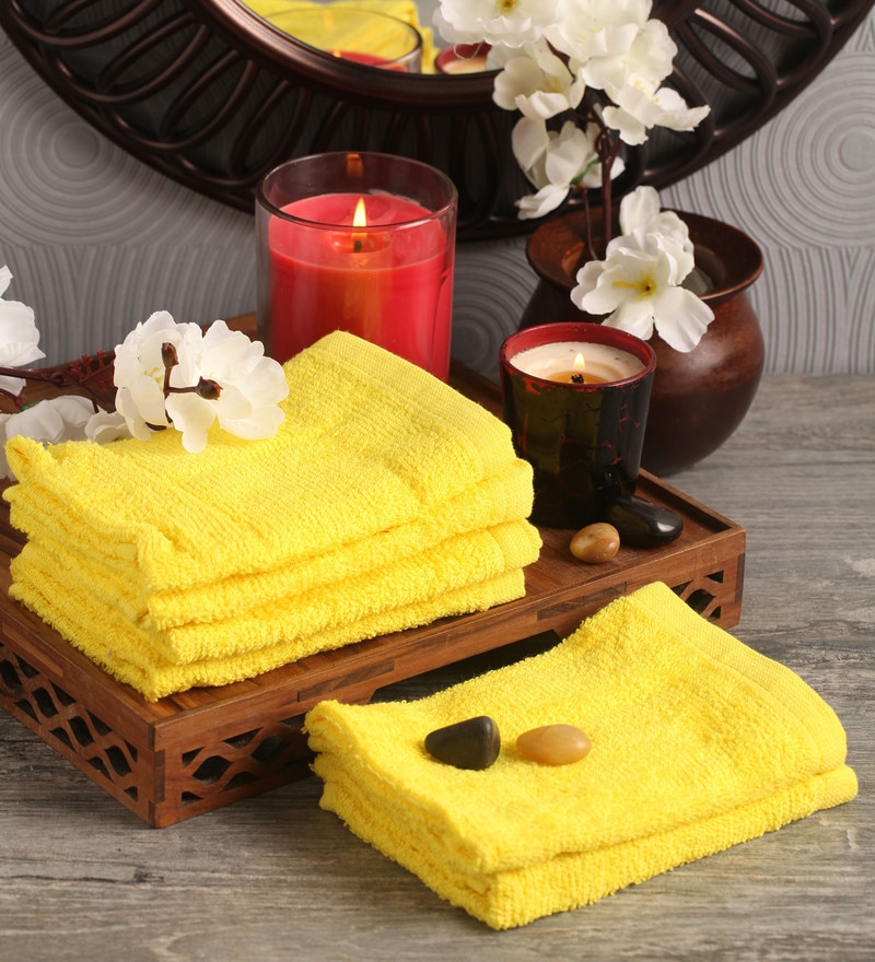 Yellow Cotton 12 x 12 Face Towel - Set of 6 by Lushomes