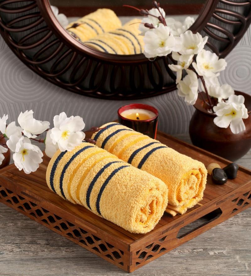 Lushomes Yellow Cotton 16 x 24 Hand Towel - Set of 2