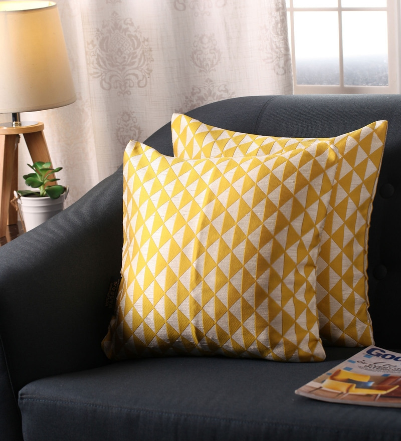 Yellow Polyester 16 x 16 Inch Jacquard Cushion Covers - Set of 2 by Lushomes