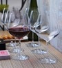 Lucaris Tokyo Temptation Burgundy Crystal 740 ML Wine Glasses- Set of 6