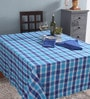 Lushomes 6 Seater Yarn Dyed Blue Cotton Table Cloth with Napkins - Set of 7