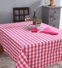 Lushomes 6 Seater Yarn Dyed Pink Cotton Table Cloth with Napkins - Set of 7