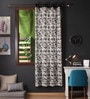 Lushomes Black Cotton 108 x 54 Inch Coins Printed Long Door Curtain with 8 Eyelets & Plain Tiebacks  -1 Piece