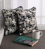 Lushomes Black Cotton 12 x 12 Inch Coins Printed Cushion Covers with Co-Ordinating Cord Piping - Set of 2