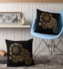 Black Cotton 16 x 16 Inch Cushion Covers with Gold Foil Print - Set of 2 by Lushomes