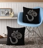 Black Cotton 16 x 16 Inch Cushion Covers with Silver Foil Print - Set of 2 by Lushomes