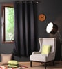 Lushomes Black Polyester 90 x 54 Inch Plain Blackout Door Curtain with 8 Metal Eyelets  -1 Piece