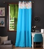 Blue Cotton 108 x 54 Inch Flower Printed Bloomberry Long Door Curtain with 8 Eyelets & Printed Tiebacks -1 Piece by Lushomes