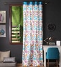 Lushomes Blue Cotton 108 x 54 Inch Flower Printed Long Door Curtain with 8 Eyelets & Plain Tiebacks  -1 Piece