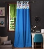Blue Cotton 108 x 54 Inch Watercolour Printed Bloomberry Long Door Curtain with 8 Eyelets & Printed Tiebacks -1 Piece by Lushomes