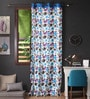 Lushomes Blue Cotton 108 x 54 Inch Watercolour Printed Long Door Curtain with 8 Eyelets & Plain Tiebacks  -1 Piece