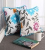 Blue Cotton 12 x 12 Inch Flower Printed Cushion Covers with Co-Ordinating Cord Piping - Set of 2 by Lushomes
