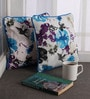 Lushomes Blue Cotton 12 x 12 Inch Printed Cushion Covers with Co-Ordinating Cord Piping - Set of 2