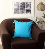 Blue Cotton 16 x 16 Inch Cushion Cover with Pom Pom by Lushomes