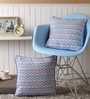 Lushomes Blue Cotton 16 x 16 Inch Diamond Printed Cushion Covers with Co-Ordinating Cord Piping - Set of 2