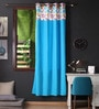 Lushomes Blue Cotton 90 x 54 Inch Flower Printed Bloomberry Door Curtain with 8 Eyelets & Printed Tiebacks  -1 Piece