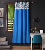 Lushomes Blue Cotton 90 x 54 Inch Watercolour Printed Bloomberry Door Curtain with 8 Eyelets & Printed Tiebacks  -1 Piece