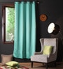 Lushomes Blue Polyester 90 x 54 Inch Plain Blackout Door Curtain with 8 Metal Eyelets - Set of 2