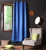 Lushomes Blue Polyester 90 x 54 Inch Plain Blackout Door Curtains with 8 Metal Eyelets - Set of 2