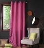 Lushomes Bordeaux Cotton 108 x 54 Inch Plain Long Door Curtain with 8 Eyelets & Plain Tiebacks - Set of 2