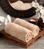 Brown Cotton 16 x 26 Hand Towel - Set of 2 by Lushomes