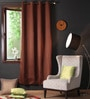 Lushomes Brown Polyester 90 x 54 Inch Plain Blackout Door Curtain with 8 Metal Eyelets  -1 Piece