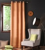 Coffee Polyester 108 x 54 Inch Plain Blackout Long Door Curtain with 8 Metal Eyelets -1 Piece by Lushomes