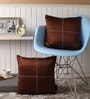 Dark Brown Blackout Polyester 16 x 16 Inch Cushion Cover with Artistic Stitch - Set of 2 by Lushomes