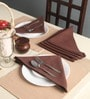 Lushomes Geometric Printed Brown Cotton Dinner Napkins - Set of 6