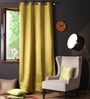 Ginger Polyester 108 x 54 Inch Plain Blackout Long Door Curtain with 8 Metal Eyelets -1 Piece by Lushomes