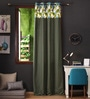 Lushomes Green Cotton 108 x 54 Inch Forest Printed Bloomberry Long Door Curtain with 8 Eyelets & Printed Tiebacks - Set of 2