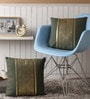 Green Cotton 16 x 16 Inch Cushion Covers with Gold Foil Print - Set of 2 by Lushomes