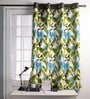 Lushomes Green Cotton 60 x 54 Inch Forest Printed Windows Curtain with 8 Eyelets & Plain Tiebacks  -1 Piece