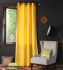 Lemon Chrome Cotton 108 x 54 Inch Plain Long Door Curtain with 8 Eyelets & Plain Tiebacks -1 Piece by Lushomes