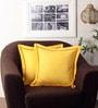 Lushomes Lemon Yellow Cotton 16 x 16 Inch Half Panama Cushion Covers with Tomato Satin Stitch - Set of 2