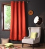 Lushomes Maroon Polyester 90 x 54 Inch Plain Blackout Door Curtain with 8 Metal Eyelets  -1 Piece