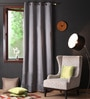 Metal Polyester 108 x 54 Inch Plain Blackout Long Door Curtain with 8 Metal Eyelets - Set of 2 by Lushomes